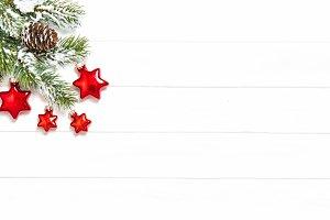 Pine tree branches Christmas stars