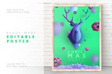 Christmas Poster in Aquamarine Color by  in Invitations