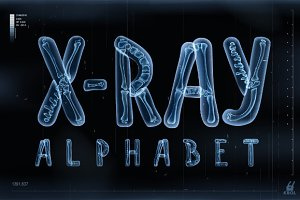 Vector 3D X-ray transparent alphabet