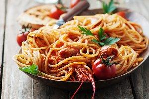 talian spaghetti with shrimps
