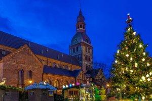 Glowing Christmas tree at market