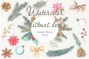 Set of Christmas watercolor
