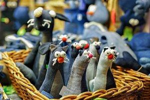 Textile black cat toys