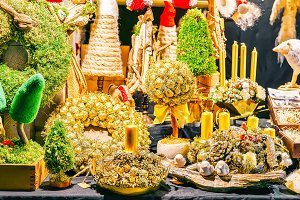 Golden handmade wreaths and souvenir