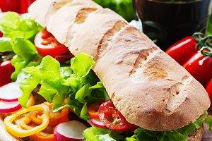 Vegan sandwich with salad