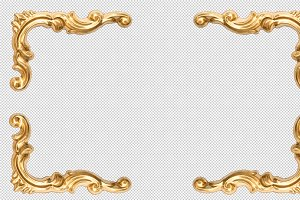 Golden corner frame isolated PNG
