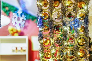 Bright stall with tree decorations