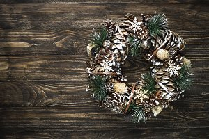 Christmas wreath on dark table top