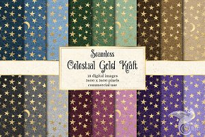 Celestial Gold Kraft Digital Paper