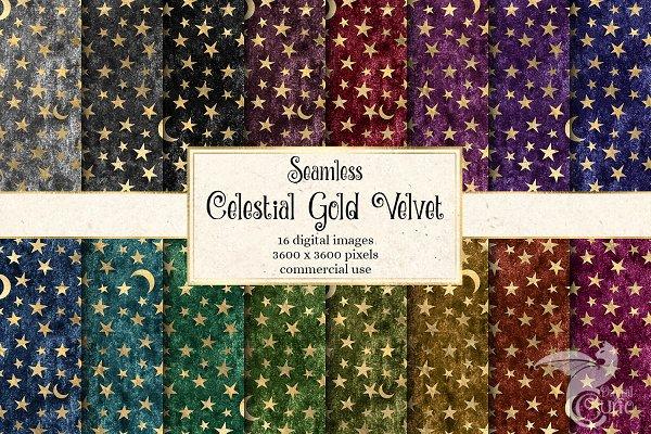 Celestial Gold Velvet Digital Paper