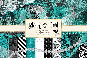 Black and Teal Digital Scrapbook Kit
