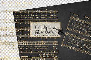 Gold Christmas Music Overlays