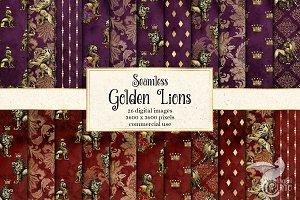 Golden Lions Digital Paper