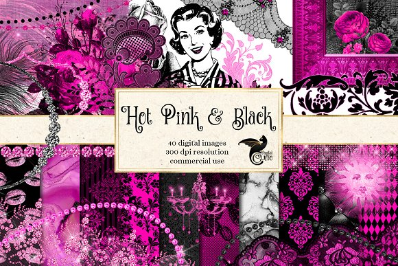 Hot Pink Black Graphics Ilrations