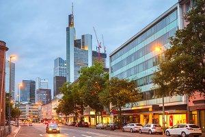 Frankfurt downtown illuminated