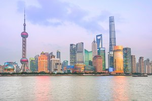 Illuminated Shanghai skyline