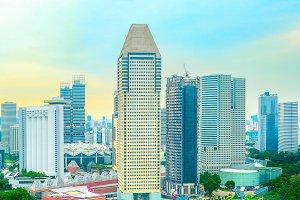 Modern aerial Singapore skyline