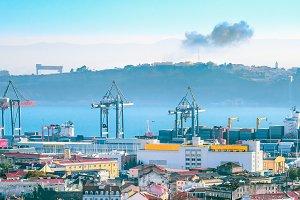 Lisbon port, cranes cargo containers
