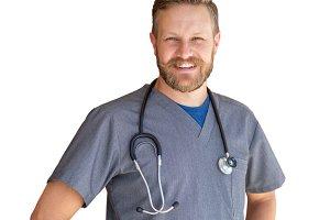 Caucasian Male Nurse Isolated