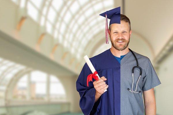 Split Screen of Male Graduate