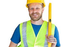 Caucasian Male Contractor in Hardhat