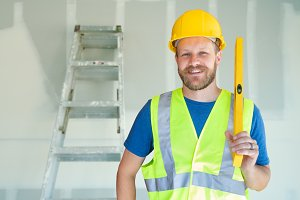 Caucasian Male Contractor in Hardhat