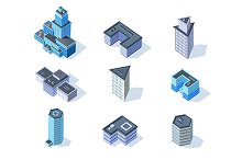 Vector business isometric buildings