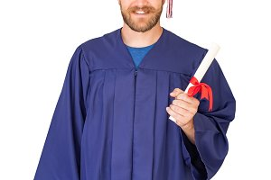 Caucasian Male Graduate With Diploma