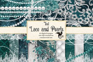 Teal Lace & Pearls Graphics