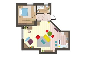 Architectural flat plan top view
