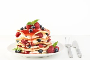 The stack of pancakes on plate with