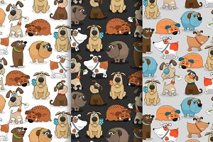 Three patterns with cute little dog