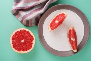 Grapefruit slices & turquoise table.