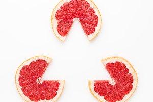 Triangular frame, grapefruit slices