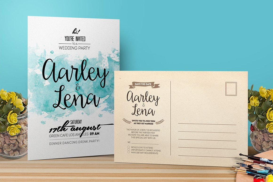 Watercolor wedding invitation invitation templates creative market stopboris