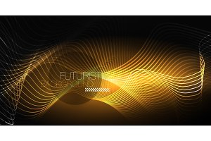 Neon lines wave background. Abstract