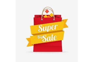 Vector Sale Bag Labels Set