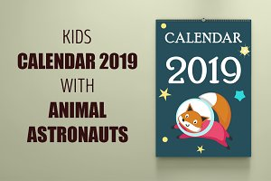 Space calendar animal austronauts