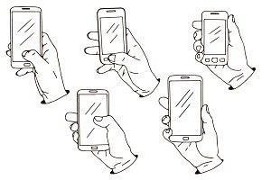 Smartphones in hands set