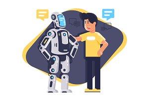 Man talking to robot