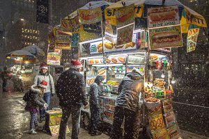 Family buying street food
