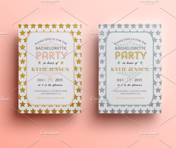 Bachelorette party invite Invitation Templates Creative Market – Bachelorette Party Invitation Templates