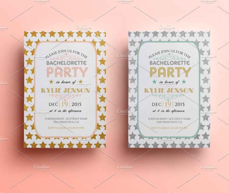 bachelorette party invite invitation templates creative market
