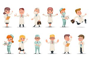 Cartoon doctor characters set