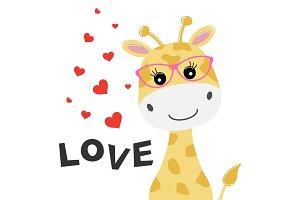 Greeting card cute baby giraffe