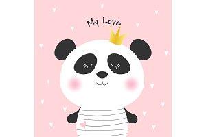 Cute cartoon panda princess.