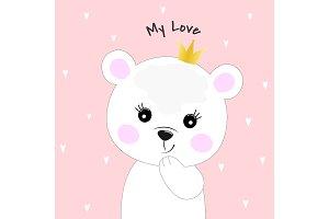 Cute cartoon bear princess.