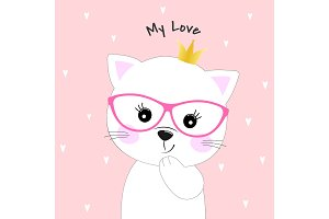 Cute cartoon cat princess.