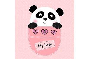 Cute bear panda sitting in a pocket