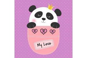 Panda princess sitting in a pocket.